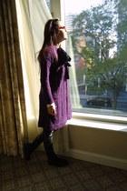 purple Anthropologie cardigan - black leather pants pants