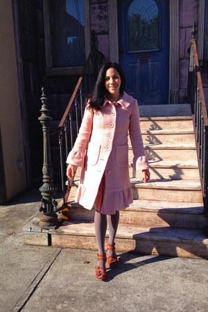 bubble gum Odille Anthropologie coat - salmon Elevenses Anthropologie skirt