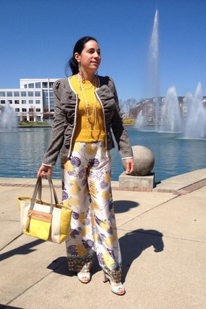 mustard Zara sweater - charcoal gray Anthropologie blazer - cream Zara pants