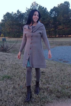 gray sweatercoat Anthropologie coat - dark brown BCBG boots - teal H&M skirt