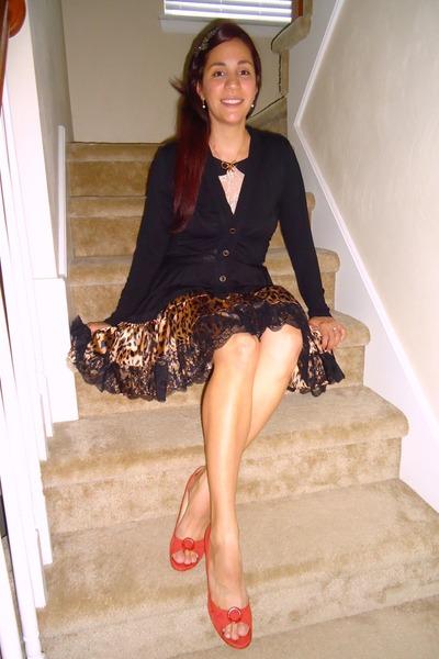 516d32ab7f animal print modcloth skirt - Anthropologie cardigan - ann taylor heels