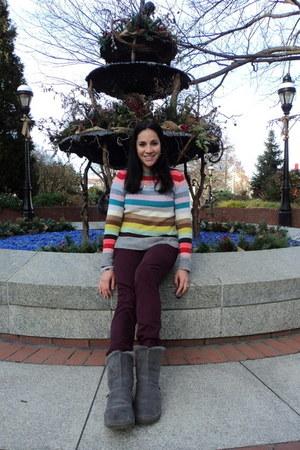 heather gray striped Gap sweater