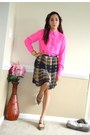 Light-brown-forever-21-skirt-hot-pink-jcrew-blouse