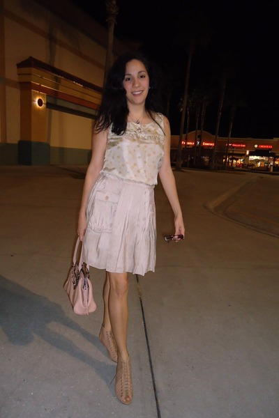 nude modcloth sandals - beige dress - light pink leather Guess bag