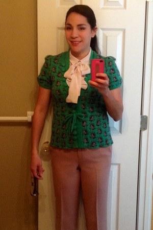 forest green Anthropologie cardigan - light pink silk tie-neck H&M blouse