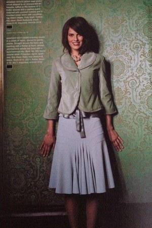 green mint velvet Odille blazer - sky blue elevenses skirt
