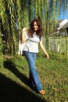 heather gray H&M top - navy jeans - eggshell JCrew cardigan