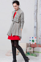 heather gray Anthropologie cardigan - ruby red Anthropologie dress