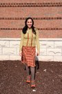 Olive-green-anthropologie-cardigan-salmon-anthropologie-skirt