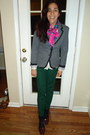 Charcoal-gray-target-blazer-bubble-gum-silk-scarf-black-forever-21-socks