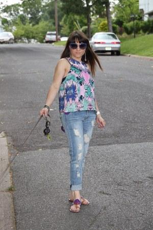 graphic silk Wayf top - boyfriend Edyson jeans - glitter Miu Miu sunglasses