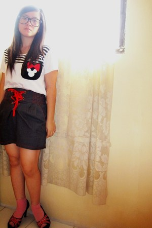 white shirt - bubble gum socks - gray skirt - black Lina Lee pumps - black glass