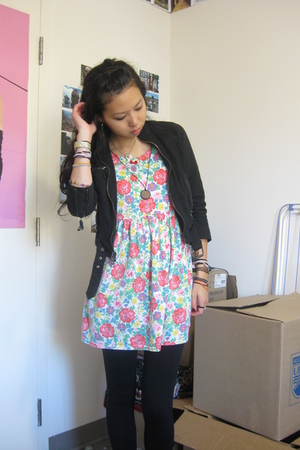 thrifted jacket - wal-mart leggings - thrifted dress