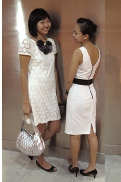 white H&M dress - white Dorothy Perkins dress - gray Raoul purse