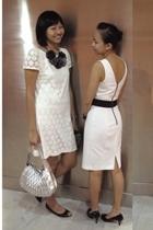 white H&M dress - white Dorothy Perkins dress - gray Raoul purse