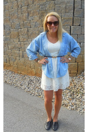lace Forever 21 dress - denim Forever 21 blouse - gold bow Forever 21 belt