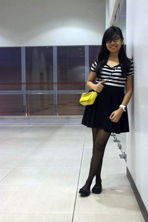 black shirt - yellow sling bag - black sheer stockings - black flats