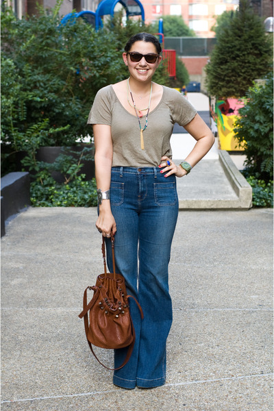 j brand jeans - Alexander Wang bag - Ray Ban sunglasses - JewelMint necklace