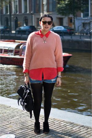 H&M sweater - sam edelman boots - PROENZA SCHOULER bag - Levis shorts