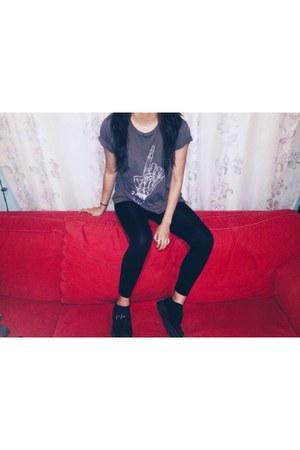 black black tuks shoes - black black leggings Forever 21 leggings