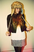 furry hat hat - leather studded jacket jacket - Skirt skirt