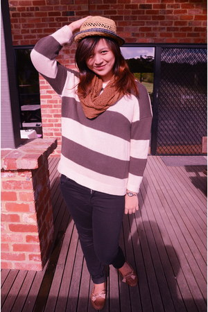 Dotti sweater - Cheap Monday jeans - straw hat Ripcurl hat - brown Ruby scarf