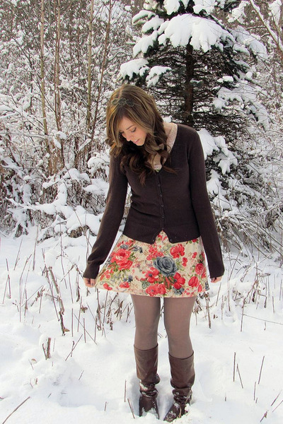 dark brown H&M sweater - red Charlotte Russe dress - dark brown Forever 21 boots