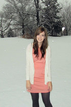 coral - off white cardigan - gray tights