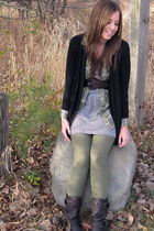 black Forever 21 cardigan - heather gray Forever 21 dress - olive green Charlott
