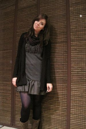 gray dress - black sweater - purple scarf - blue tights - brown boots