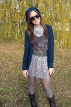 heather gray skirt - charcoal gray top - teal cardigan - teal hat - dark brown b