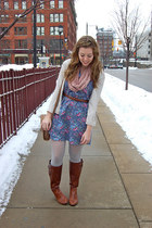 brown boots - sky blue dress - cream sweater - light pink scarf
