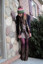 deep purple cardigan - purple tights - brown boots - beige dress - bubble gum ha