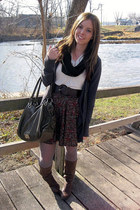off white shirt - gray cardigan - dark brown skirt - dark brown boots - forest g