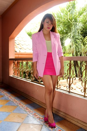 pink department store shoes - pink SOSI STUFF blazer - lime green Forever 21 top
