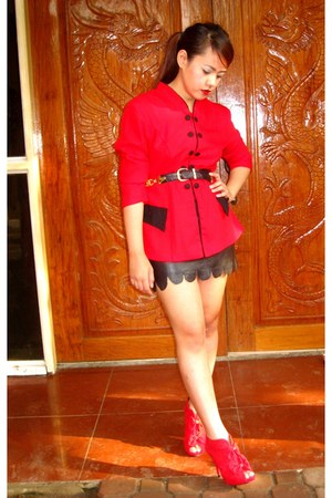 red Chanel boots - red SOSI STUFF blazer - black DIY skirt - black Chanel belt