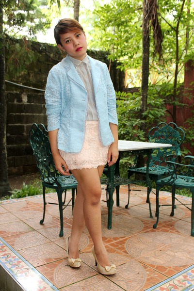 peach Kisses &amp; Co skirt - sky blue SOSI STUFF blazer - periwinkle thrifted top