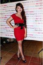 red People are People dress - black Zara belt - black People are People heels