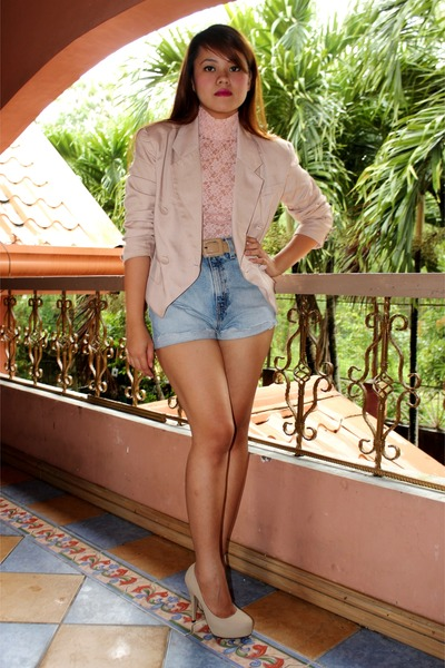 neutral Charles & Keith heels - beige SOSI STUFF blazer - light blue DIY shorts