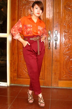orange SOSI STUFF blouse - crimson SOSI STUFF pants - brown People are People he