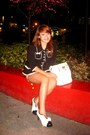 Black-forever-21-blazer-white-chanel-shoes-white-celine-bag