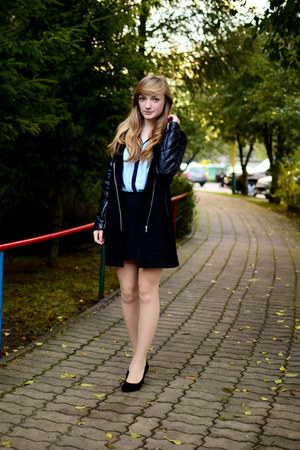 black Lookbook Store coat - sky blue Stradivarius shirt - black Pepco skirt