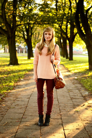 black allegro boots - peach reserved sweater - white wholesale-orders shirt