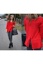 red reserved sweater