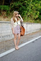 beige reserved sweater - tawny Stradivarius bag - bubble gum c&a skirt
