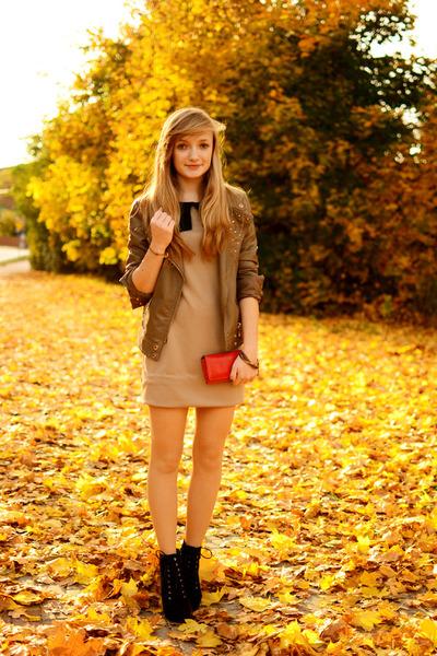 black renee boots - tan allegro dress