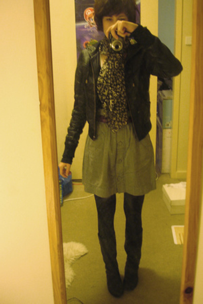 portmans scarf - Sportsgirl jacket - Shoobiz boots - Sportsgirl skirt - vintage