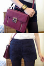 Navy-boucle-romwe-shorts-black-tights-maroon-miranda-forever-new-bag