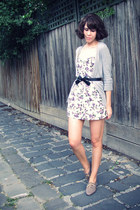 ivory Topshop dress - heather gray supre cardigan - black Ebay accessories - bro
