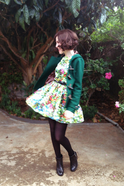 forest green duffle Princess Highway coat - black lingering dream Soles boots